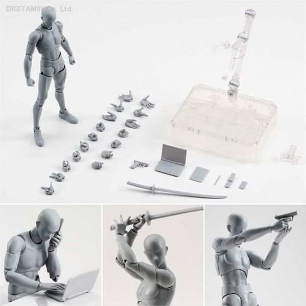 โมเดลหุ่นจัดท่าอิสสระ SHFiguarts Body Chan และ Body Kun DX Set สีเทา