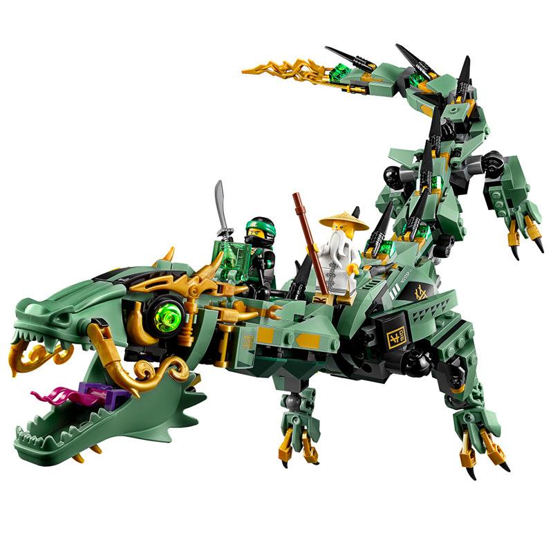LEPIN LELE Ninjago Green Ninja Mech Dragon ตัวต่อนินจาโกมังกรยักษ์ ยาว60ซม