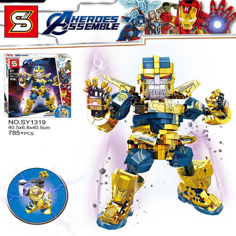 SY ตัวต่อธานอส ขยับแขนขาได้ Thanos Action Figures brick toys